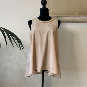 WD-NY Maxi Pink Top With Neck Gold Chain Decor Size M Workwear Relaxed Formal